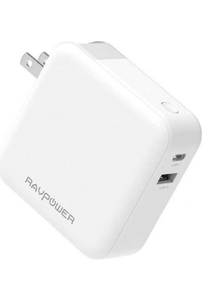 Ravpower RP-PB101 5000 mAh AC + PD + Qc 3.0 Hızlı Şarj Beyaz