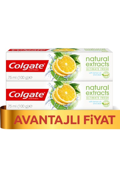 Colgate Natural Extracts Limon Ferahlatıcı Diş Macunu 75 ml x 2 Adet