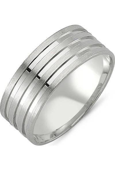 Takı Dükkanı Mat Üç Çizgili Gümüş Alyans Söz Nişan Yüzüğü wr72-1
