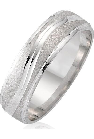 Takı Dükkanı Mat Çizgili Gümüş Alyans Çifti Söz Yüzüğü Tektaş Hediye wr78