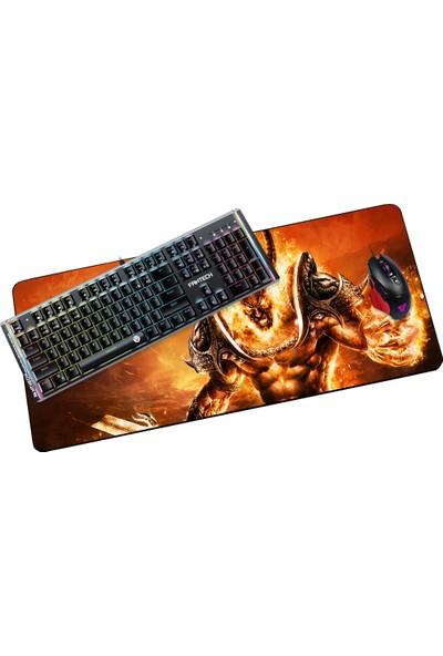 Fantech 2019 90 x 400 cm 4 mm Şeytan Alevli Boynuzlu Oyuncu Mousepad