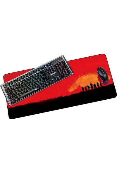 Fantech 2019 90 x 400 cm 4 mm Red Dead Kırmızı Kovboylu Oyuncu Mousepad