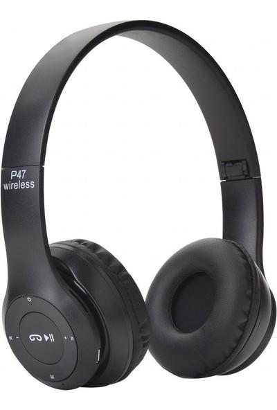 Case 4U Kulak Üstü Kablosuz Kulaklık - Bluetooth Kulaklık - Aux ve Hafıza Kartı Girişli Siyah - P47