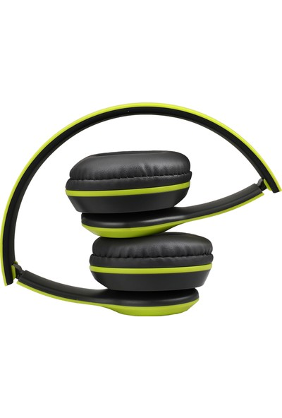 Case 4U Kulak Üstü Kablosuz Kulaklık - Bluetooth Kulaklık - Aux ve Hafıza Kartı Girişli Yeşil - P47*