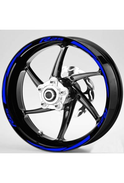 Hediyelikevi Mavi R25 Yazılı 3 Parçalı Reflektif Mavi Jant Şeridi