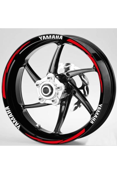 Hediyelikevi Beyaz Yamaha Yazılı 3 Parçalı Reflektif Kırmızı Jant Şeridi