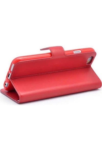 Ehr. Samsung Galaxy J6 Kılıf Cüzdanlı Mıknatıslı Standlı Kopçalı Lüks Kılıf Kırmızı