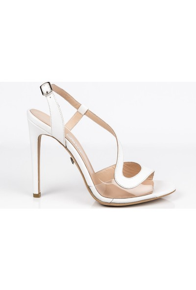J'abotter Audrie Beyaz Şeffaf İnce Topuklu Ayakkabı
