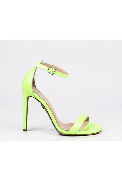 J'abotter Elegant Mini Yeşil Neon 10 Cm Topuklu Ayakkabı