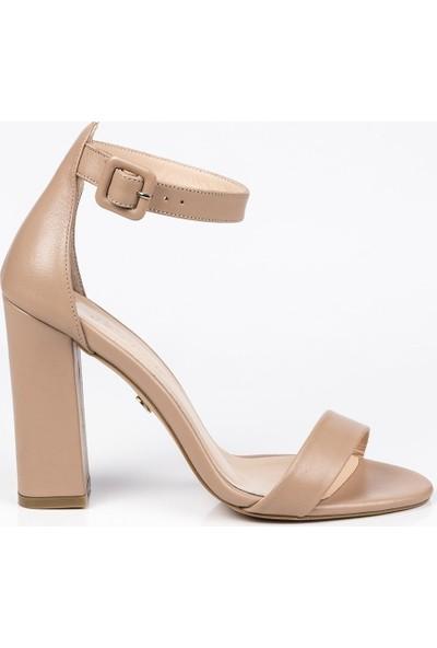 J'abotter Flora Karamel Deri Platform Topuklu Ayakkabı