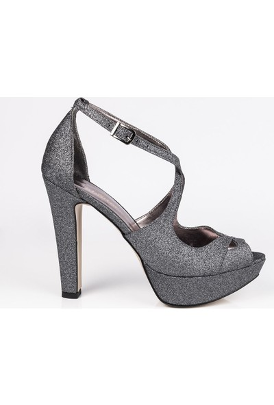 J'abotter Hera Antrasit Simli Platform Topuklu Ayakkabı