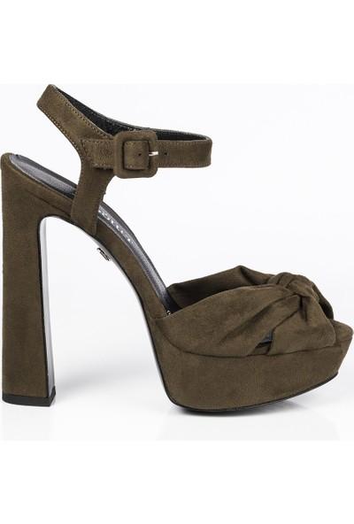 J'abotter Luvena Haki Süet Platform Topuklu Ayakkabı