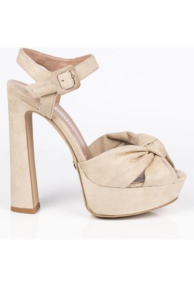 J'abotter Luvena Vizon Süet Platform Topuklu Ayakkabı