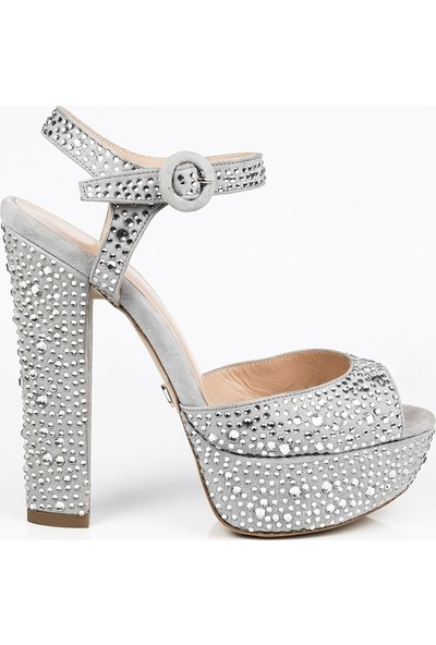 J'abotter Nifty Gri Süet Taşlı Platform Topuklu Ayakkabı