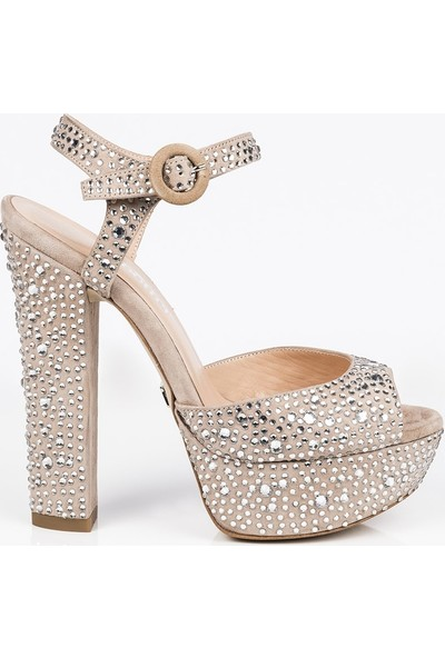 J'abotter Nifty Latte Süet Taşlı Platform Topuklu Ayakkabı