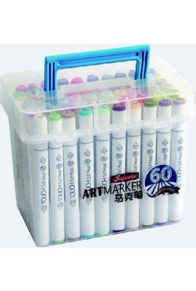 Superior Art Marker Seti Çift Uçlu Grafik Kalemi 60 Renk Plastik Çanta