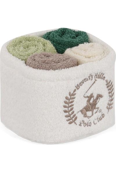 Beverly Hills Polo Club Polo El Kurulama Havlu Seti 30 x 30 cm (4) Alinda - V10 Beyaz vizon a.yeşil k.yeşil