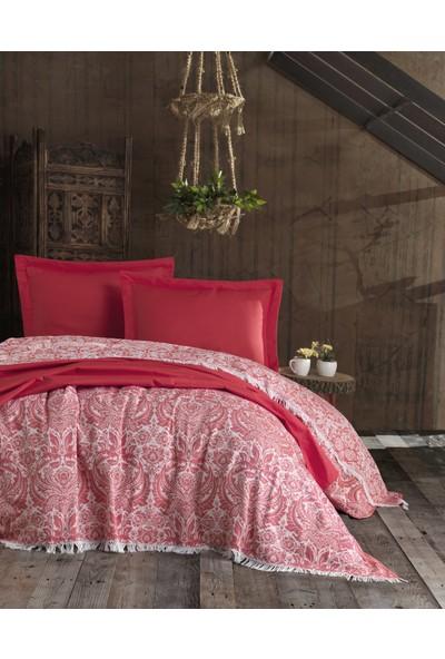 Eponj Home Yatak Örtüsü Naturel-Saçaklı Çift Kişilik Porto Kırmızı