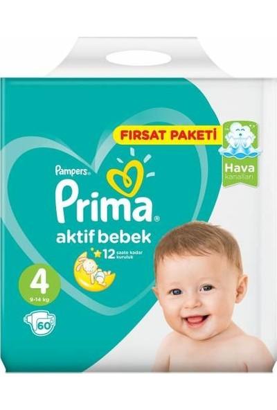 Prima Aktif Bebek Bezi 4 Numara 60 Adet Fırsat Paketi