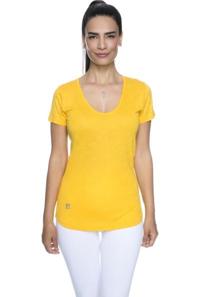 Fit21 Sarı V Yaka Kısa Kollu T-Shirt