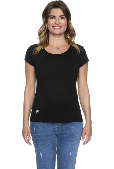 Fit21 Siyah Basic Kısa Kollu T-Shirt