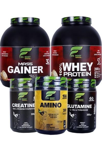 Whey Protein + Mass Gainer + Kreatin + Glutamin + Amino Performans Kombinasyonu