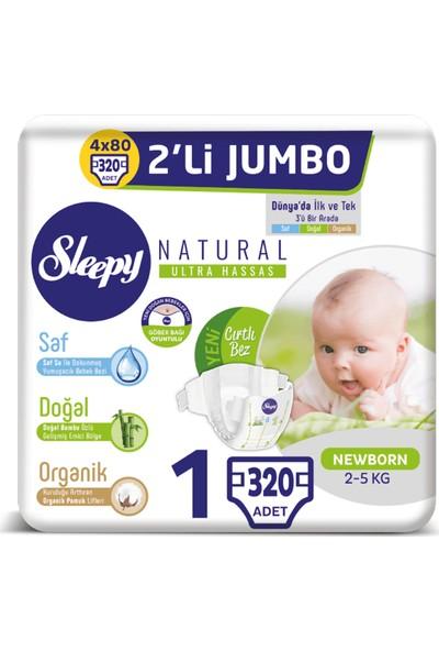Sleepy Natural Bebek Bezi Ikili Jumbo 1 Numara Yenidoğan 80X4 (320 Adet)