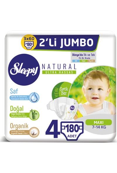 Sleepy Natural Bebek Bezi Ikili Jumbo 4 Numara 60X3 (180 Adet)