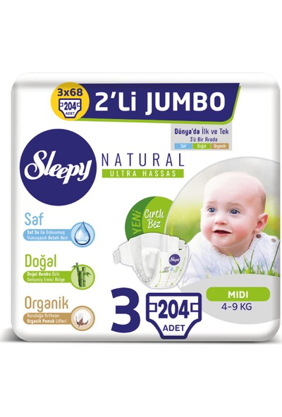 Sleepy Natural Bebek Bezi Ikili Jumbo 3 Numara 68X3 (204 Adet)
