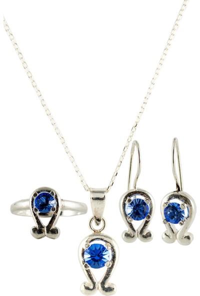 Estel Mavi Zirkon Taşlı Gümüş Set Takım