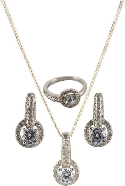 Estel Gümüş Tek Taş Modeli Takım Set