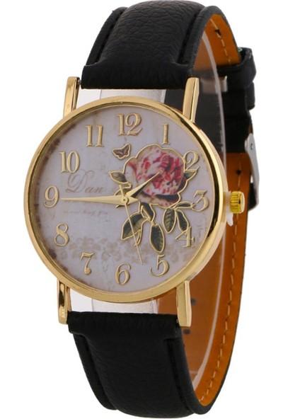 GOB2C Kadın Çiçek Kadran Suni Deri Kayış Kol Saati Siyah