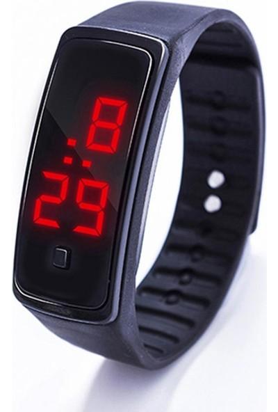 GOB2C Erkek Kadın Dijital LED Silikon Kayış Kol Saati Siyah
