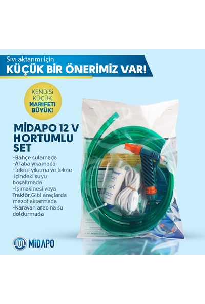 Midapo 12V Mini Dalgıc Pompa Seti (Mazot-Zeytinyağı-Su-Süt Aktarma,transfer Pompası )
