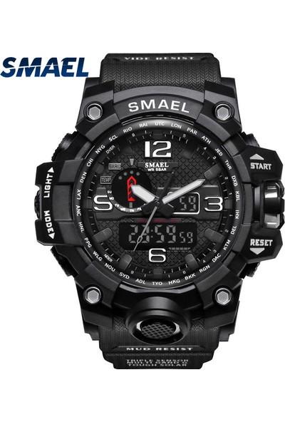 GOB2C SMAEL Erkekler Spor İzle Çift Ekran Analog Dijital LED Elektronik Bilek Saatler