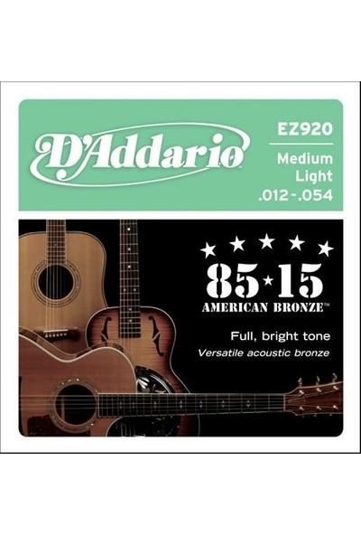 Daddario Ez920 Akustik Tel Set Gtr 8515 Med Lite