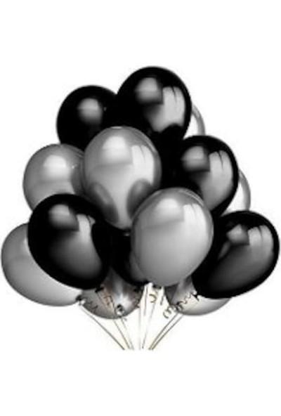 Balon Evi 50 Adet Metalik Sedefli Uçan Balon (Siyah -Gümüş Karışık) Balon