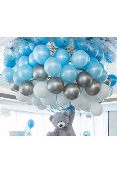 Balon Evi 30 Adet Metalik Balon (Mavi - Beyaz - Gümüş Karışık) Uçan Balon