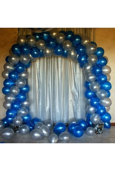 Balon Evi 50 Adet Metalik Kaliteli Balon (Mavi - Gümüş Karışık) Uçan Balon