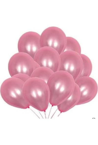 Balon Evi 25 Adet Metalik Sedefli (Şeker Pembe-Gümüş Gri) Karışık Balon