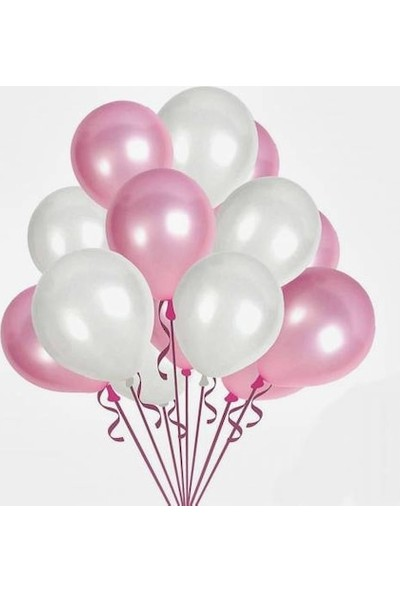 Balon Evi Pembe Beyaz Sedefli Metalik Balon 12 İnç Kaliteli Helyumla Uçan 10 Adet