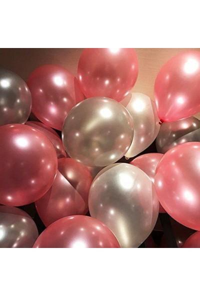 Balon Evi 25 Ad Metalik Sedefli (Şeker Pembe-Gümüş Gri) Balon Helyumla Uçan
