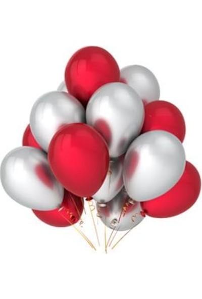 Balon Evi 25 Adet Metalik Sedefli (Kırmızı-Gümüş Gri)Karışık Helyumlu Uçan