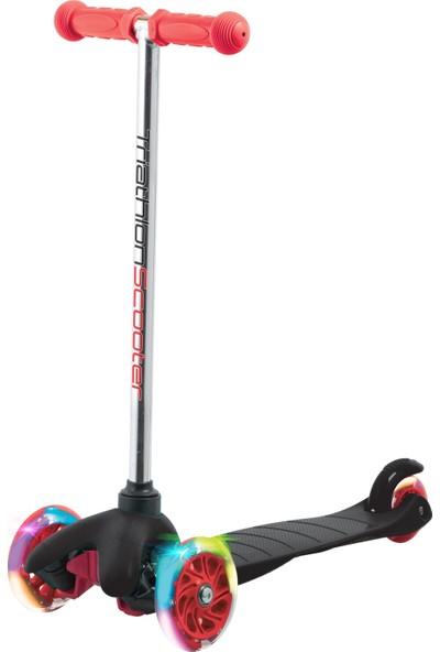 Triathlon 7 Renk Led Işıklı Tekerlekli Scooter - Siyah