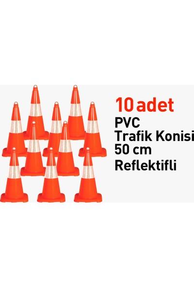 Evelux Pvc Trafik Konisi 50 cm Reflektifli 10 Adet Trafik Dubası - Ürünü