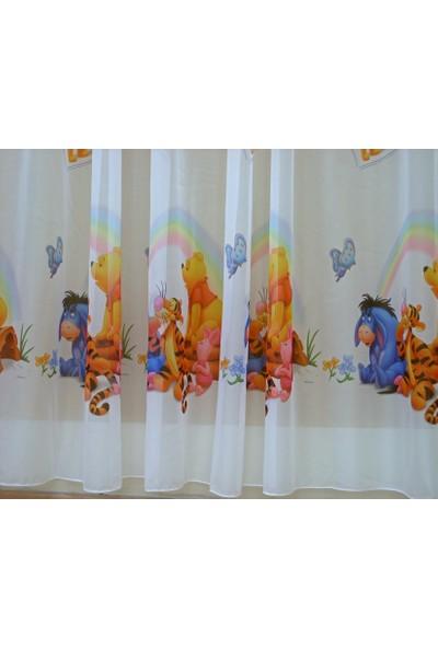 Caserta Home Sık Pile 1/3 Lisanslı Kreş Çocuk Odası Ayı Winnie the Pooh Vual Tül Perde - 500x120 cm