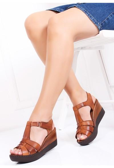 Tarçın Deri Taba Günlük Kadın Sandalet Ayakkabı Trc119-0150