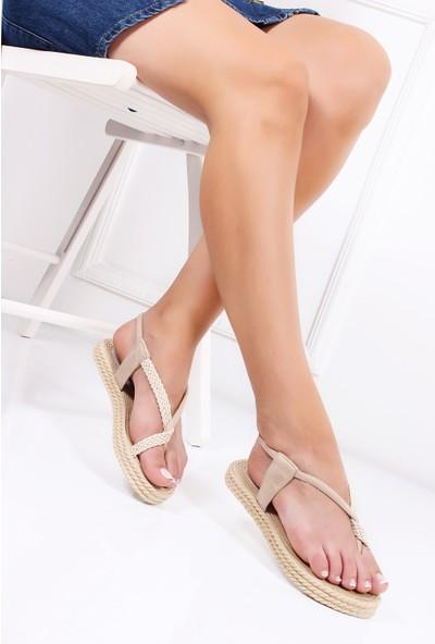 Tarçın Günlük Kadın Bej Süet Sandalet Ayakkabı Trc131-0104