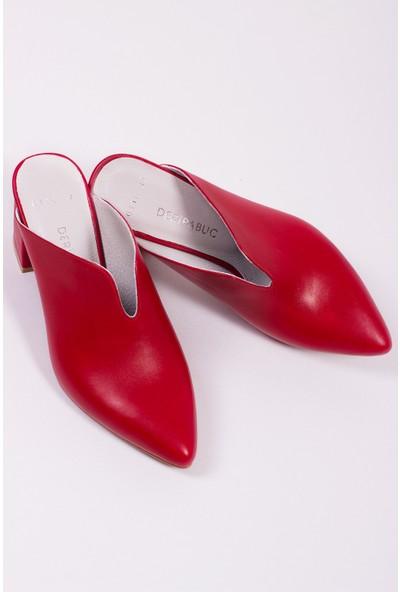 Tarçın Deri Kırmızı Klasik Günlük Kadın Topuklu Terlik Trc71-0116