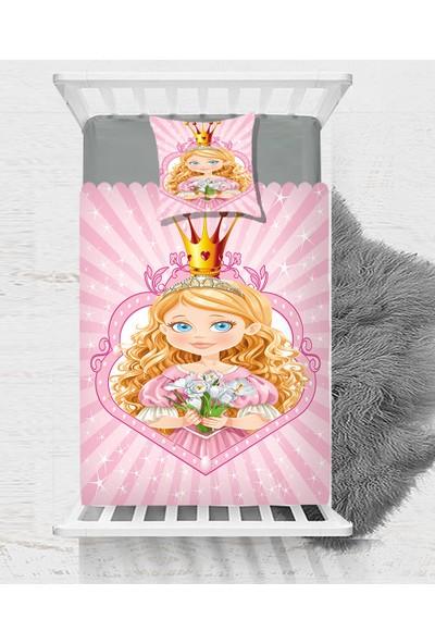 Else Pembe Taçlı Prenses Dekoratif Çocuk Bebek Yatak Örtüsü